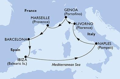 crucero-España, Italia, Francia - 7 noches a bordo del MSC Divina