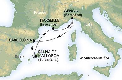 crucero-España, Francia, Italia - 4 noches a bordo del MSC Preziosa