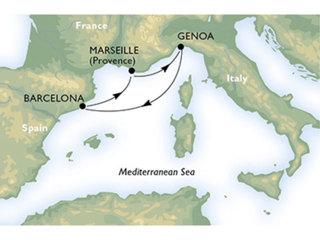 crucero-España, Francia, Italia - 3 noches a bordo del MSC Preziosa