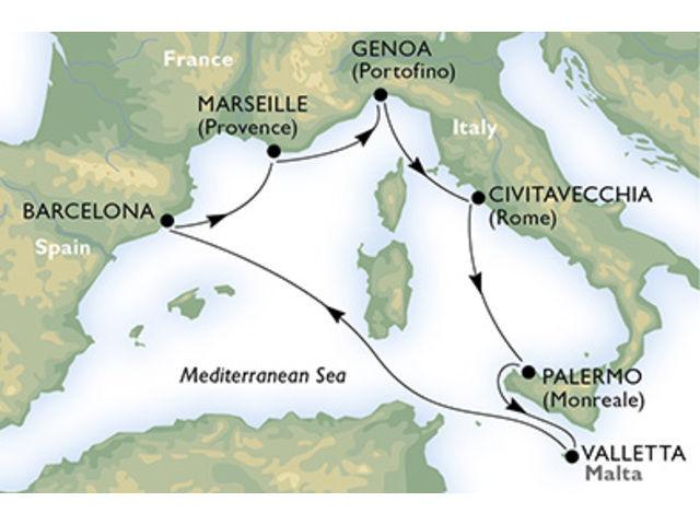 crucero-España, Francia, Italia, Malta - 7 noches a bordo del MSC Meraviglia