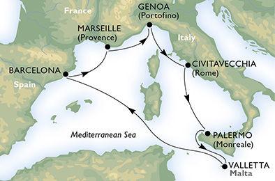 crucero-España, Francia, Italia, Malta - 7 noches a bordo del MSC Splendida