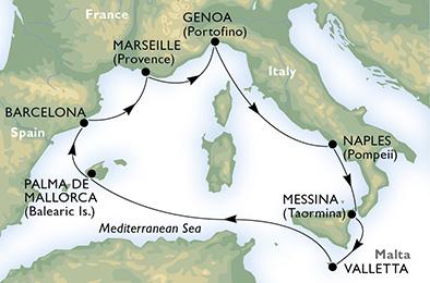 crucero-España, Francia, Italia, Malta - 7 noches a bordo del MSC Poesia