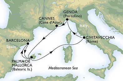 crucero-España, Francia, Italia - 7 noches a bordo del MSC Seaview