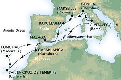 crucero-España, Marruecos, Portugal, Italia, Francia - 12 noches a bordo del MSC Orchestra