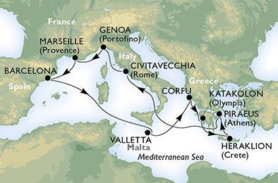 crucero-España, Malta, Grecia, Italia, Francia - 11 noches a bordo del MSC Orchestra