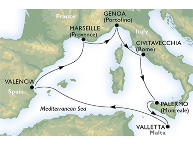 crucero-Italia, Malta, España, Francia - 7 noches a bordo del MSC Splendida