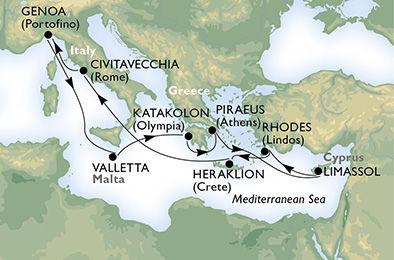 crucero-Italia, Malta, Grecia, Chipre - 11 noches a bordo del MSC Magnifica